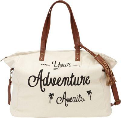 nu G Printed Cotton Weekender Bag with Tassel Ivory - nu G Fabric Handbags