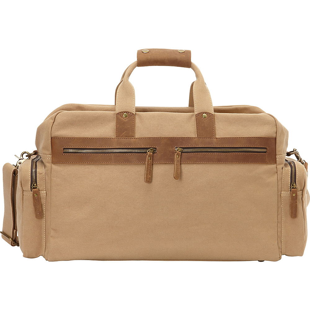 Vagabond Traveler Classic Large Canvas Duffle Travel Bag Khaki - Vagabond Traveler Rolling Duffels - Luggage, Rolling Duffels