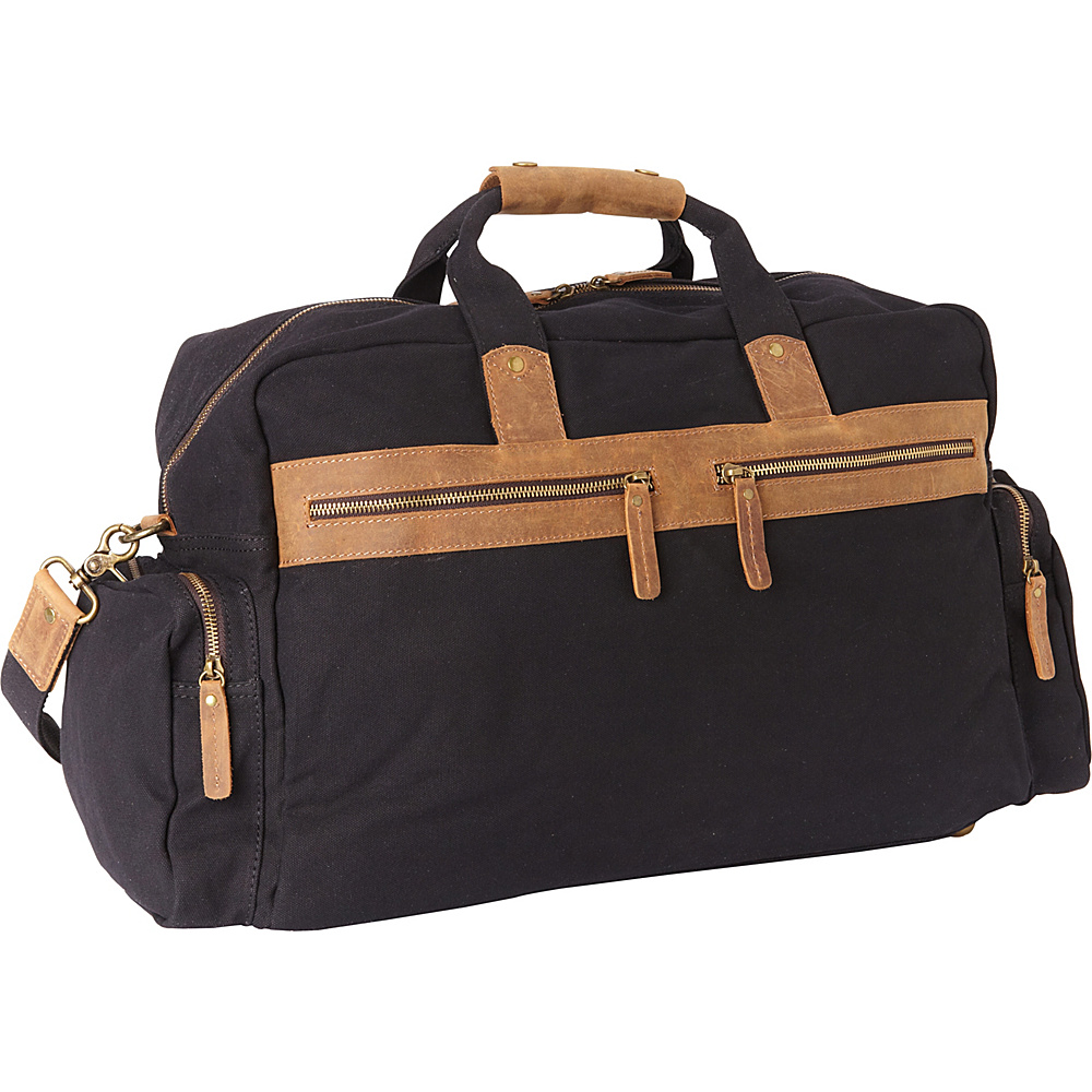 Vagabond Traveler Classic Large Canvas Duffle Travel Bag Black - Vagabond Traveler Rolling Duffels - Luggage, Rolling Duffels