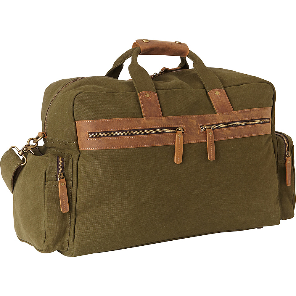 Vagabond Traveler Classic Large Canvas Duffle Travel Bag Green - Vagabond Traveler Rolling Duffels - Luggage, Rolling Duffels