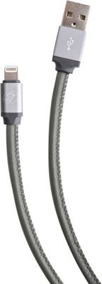 S. Taylor London Genuine Leather Charge & Sync cable for iPhone 5 & 6 models Steel Grey - S. Taylor London Electronic Accessories
