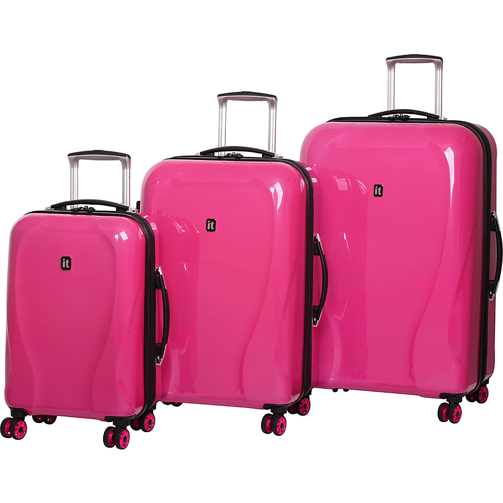 it luggage Corona Hardside 8 Wheel 3 Piece Set Hot Pink it luggage Luggage Sets