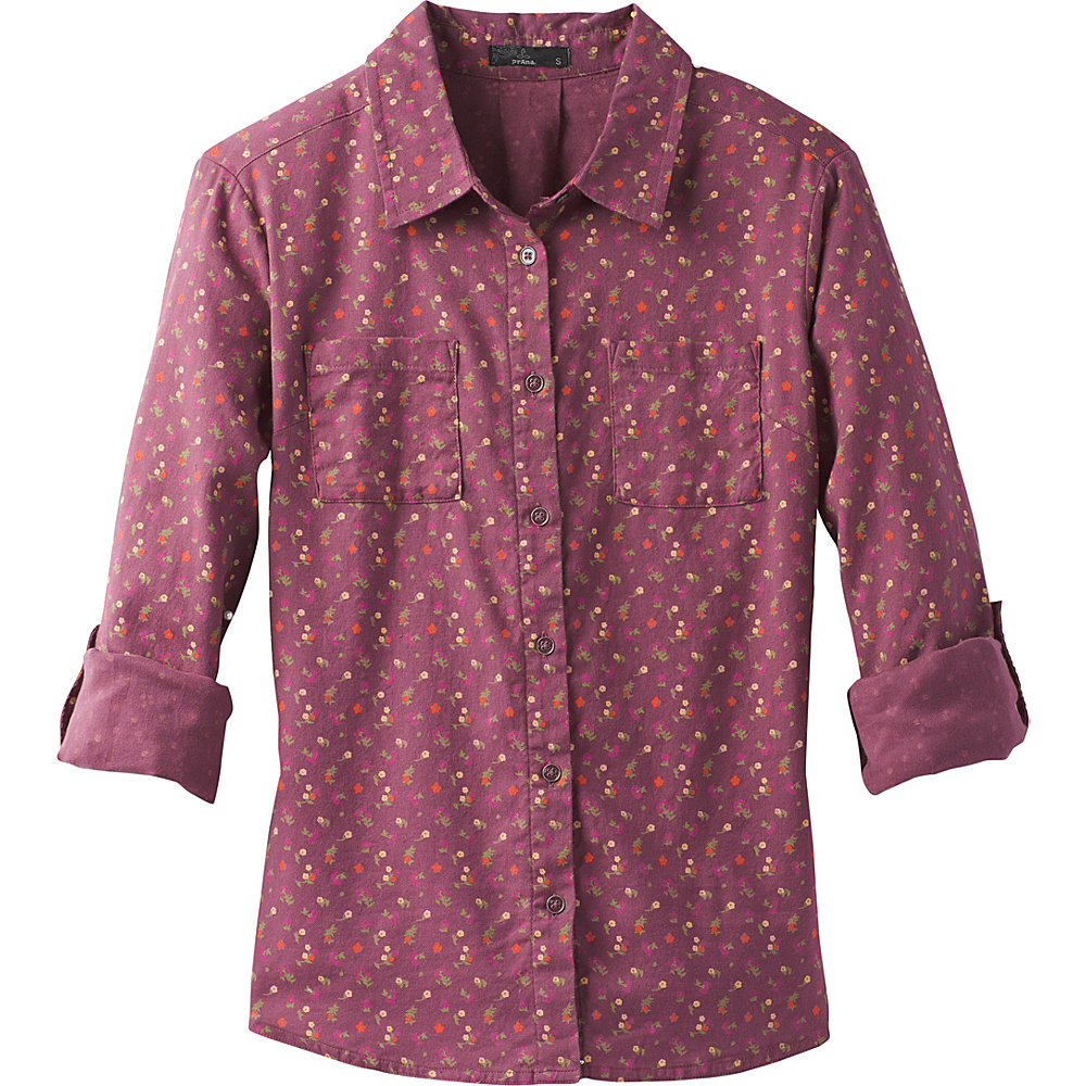 PrAna Salinda Top XL - Plum Ditsy Floral - PrAna Womens Apparel - Apparel & Footwear, Women's Apparel