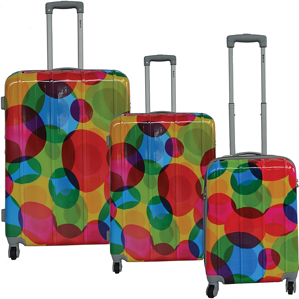 McBrine Luggage Lightweight Hardside 3-Piece Luggage Set Circle Pattern Print - McBrine Luggage Luggage Sets