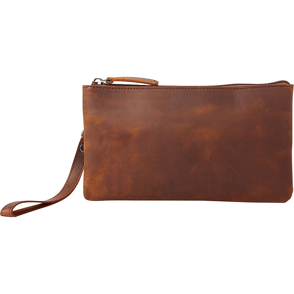 Vagabond Traveler Full Grain Leather Large Clutch Zipper Wallet Vintage Brown - Vagabond Traveler Leather Handbags - Handbags, Leather Handbags