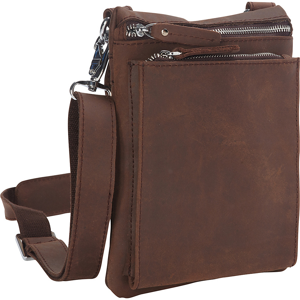 Vagabond Traveler Cowhide Leather Slim Cross-Body Waist Bag Distress - Vagabond Traveler Other Mens Bags - Work Bags & Briefcases, Other Men's Bags