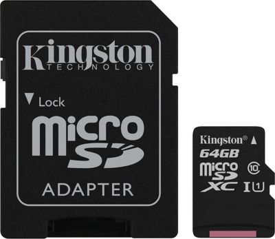 Kingston 64GB UHS-I microSDXC Memory Card with SD Adapter