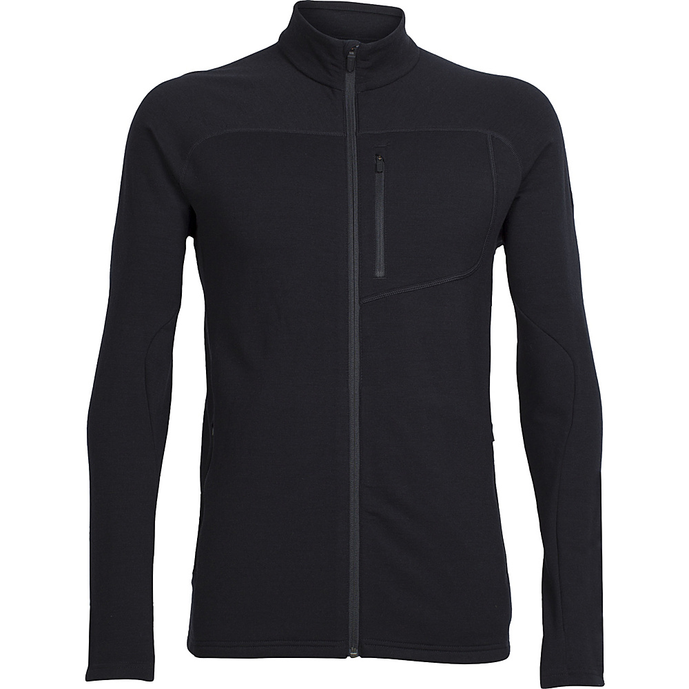 Icebreaker Mens Mt Elliot Long Sleeve Zip Jacket 2XL - Black - Icebreaker Mens Apparel - Apparel & Footwear, Men's Apparel
