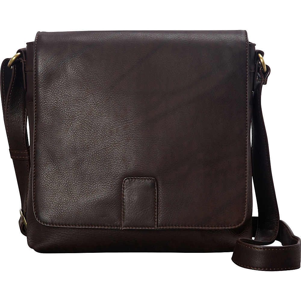 Derek Alexander NS Flapover Crossbody Brown - Derek Alexander Leather Handbags - Handbags, Leather Handbags