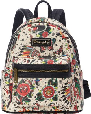 Loungefly Loungefly Tattoo Flash Mini Faux Leather Backpack Tan/Multi - Loungefly Manmade Handbags