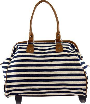 Tara's Travelers Nautical Stripes Wheeled Duffel Sapphire Stripes - Tara's Travelers Softside Carry-On