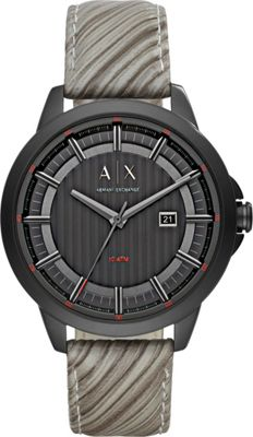 A/X Armani Exchange Mens IP and Leather Watch Grey - A/X Armani Exchange Watches