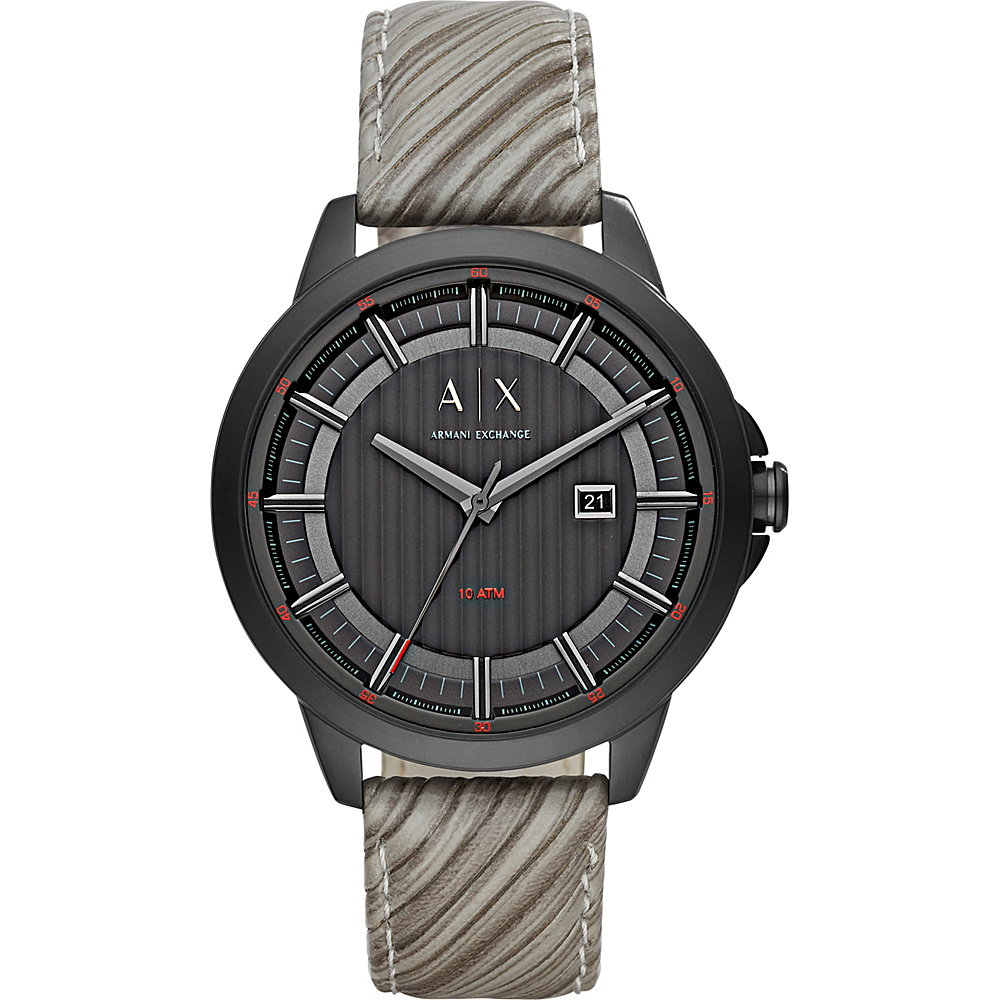A X Armani Exchange Mens IP and Leather Watch Grey A X Armani Exchange Watches