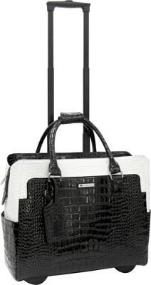 Cabrelli Portia Patent 15 inch Laptop Rollerbrief Black/White - Cabrelli Wheeled Business Cases