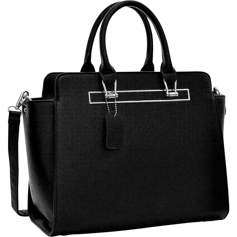 Dasein Faux Saffiano Leather Winged Satchel with Shoulder Strap Black - Dasein Manmade Handbags - Handbags, Manmade Handbags