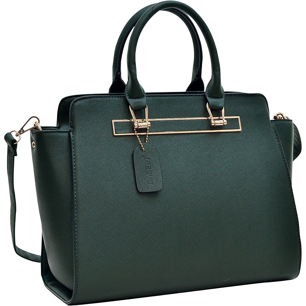 Dasein Faux Saffiano Leather Winged Satchel with Shoulder Strap Dark Green - Dasein Gym Bags - Sports, Gym Bags