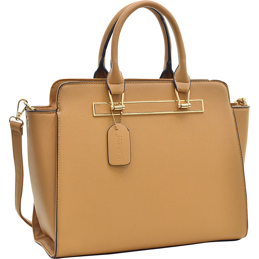 Dasein Faux Saffiano Leather Winged Satchel with Shoulder Strap Tan - Dasein Manmade Handbags - Handbags, Manmade Handbags