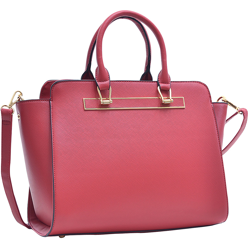 Dasein Faux Saffiano Leather Winged Satchel with Shoulder Strap Red - Dasein Gym Bags - Sports, Gym Bags