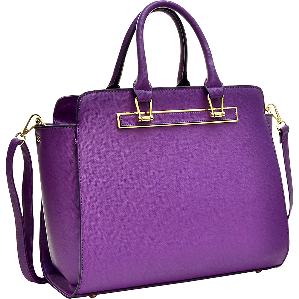 Dasein Faux Saffiano Leather Winged Satchel with Shoulder Strap Purple - Dasein Manmade Handbags - Handbags, Manmade Handbags
