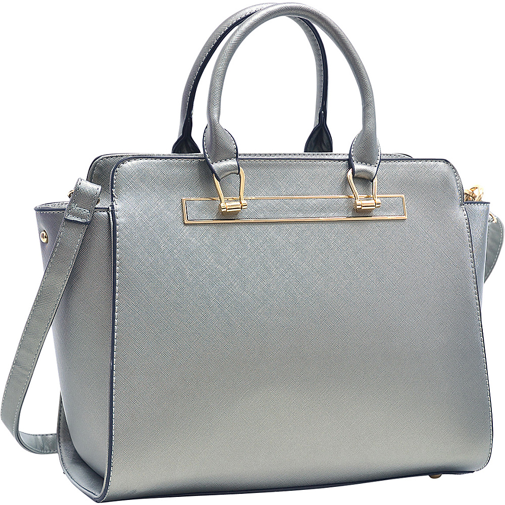 Dasein Faux Saffiano Leather Winged Satchel with Shoulder Strap Pewter - Dasein Manmade Handbags - Handbags, Manmade Handbags