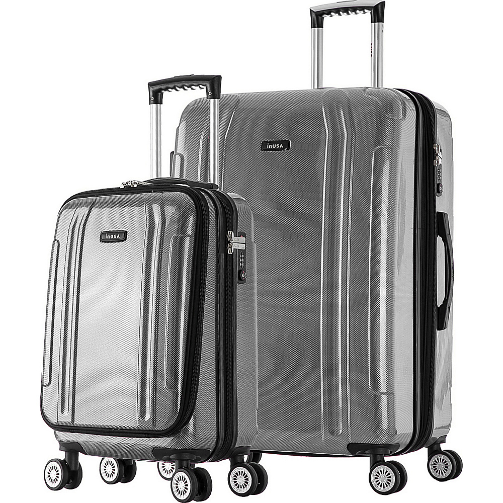 inUSA SouthWorld 19 27 2 Piece Hardside Spinner Luggage Set Silver Brush inUSA Luggage Sets