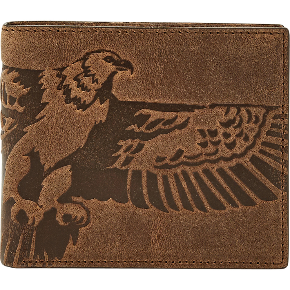 Fossil Eagle Large Coin Pocket Bifold and Keyfob Gift Set Brown - Fossil Mens Wallets - Work Bags & Briefcases, Men's Wallets