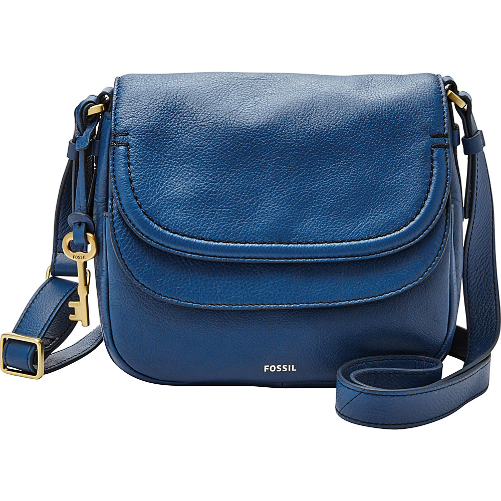 Fossil Peyton Small Double Flap Crossbody Marine - Fossil Leather Handbags