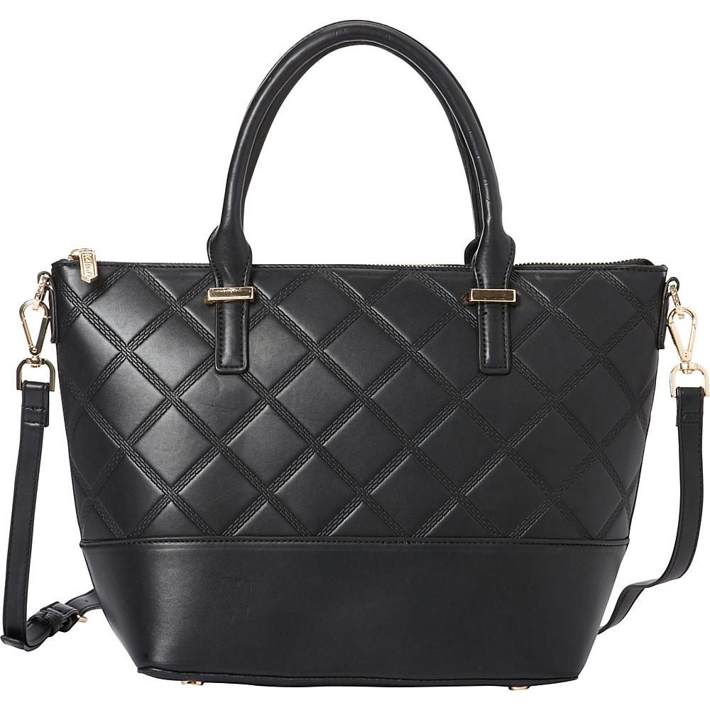 La Diva Penelope Quilted Satchel Black La Diva Manmade Handbags