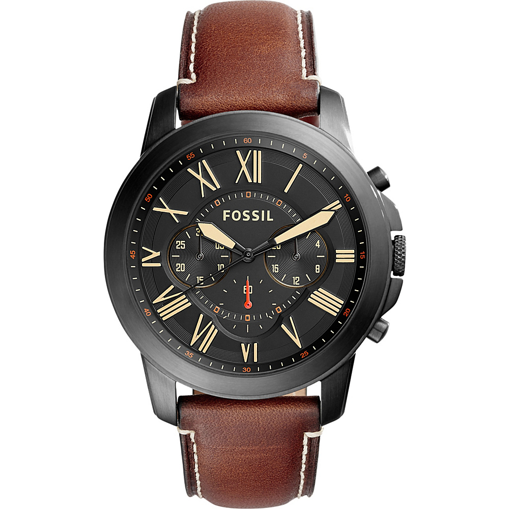 Fossil Grant Chronograph Leather Watch Brown - Fossil Watches - Fashion Accessories, Watches