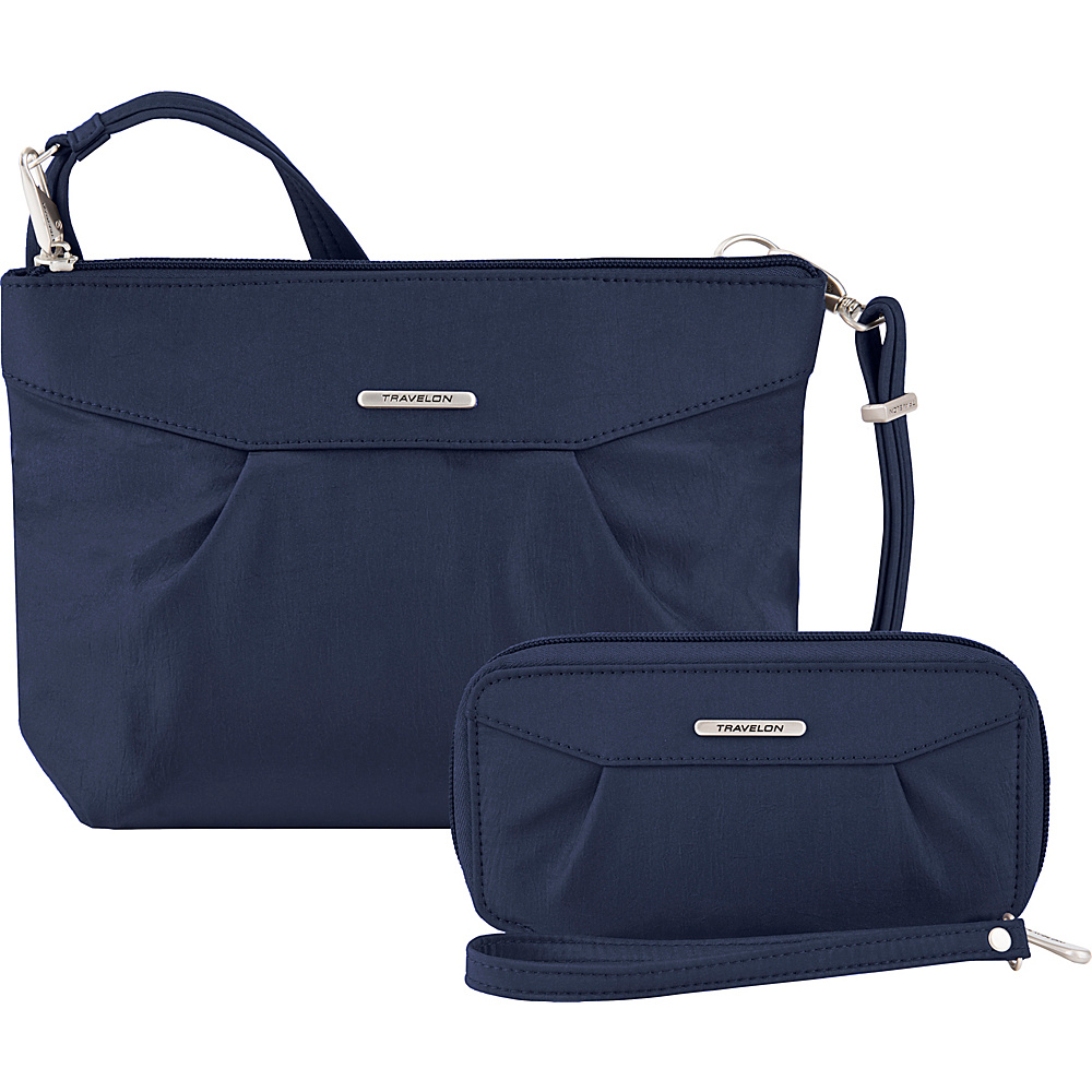 Travelon Anti-Theft Crossbody and RFID Clutch Wallet Set- Exclusive Royal Blue/Gray Interior - Travelon Fabric Handbags - Handbags, Fabric Handbags