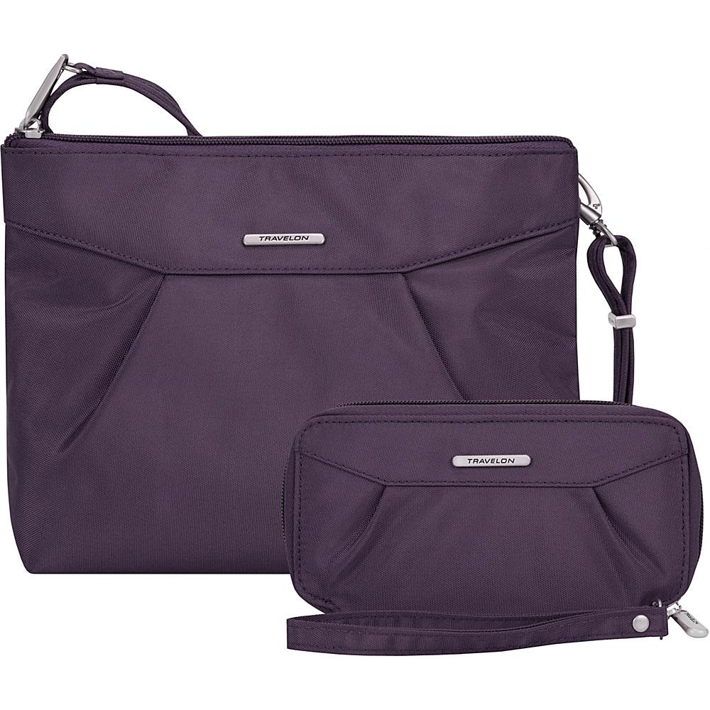 Travelon Anti-Theft Crossbody and RFID Clutch Wallet Set- Exclusive Purple/Gray Interior - Travelon Fabric Handbags - Handbags, Fabric Handbags