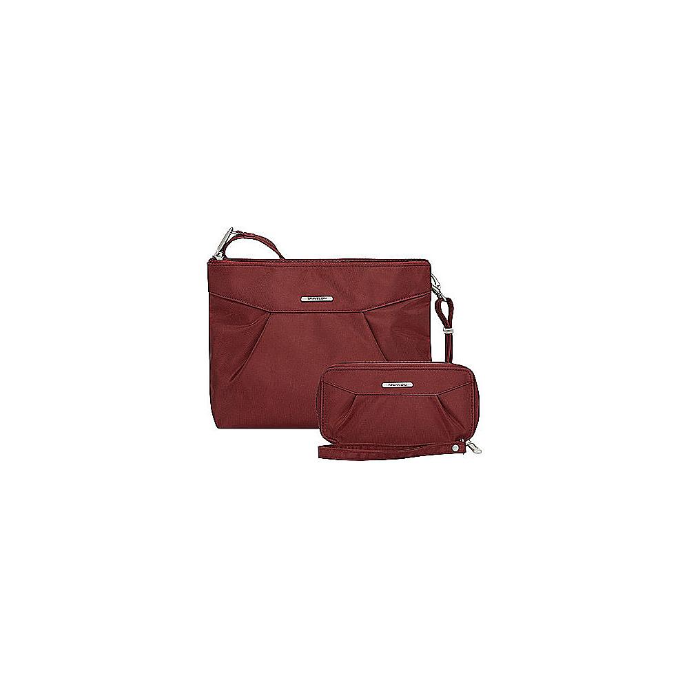 Travelon Anti-Theft Crossbody and RFID Clutch Wallet Set- Exclusive Wine/Gray Interior - Travelon Fabric Handbags - Handbags, Fabric Handbags