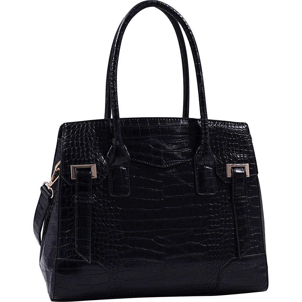 MKF Collection by Mia K. Farrow Buckthorn Crocodile Leather Satchel Black - MKF Collection by Mia K. Farrow Manmade Handbags - Handbags, Manmade Handbags