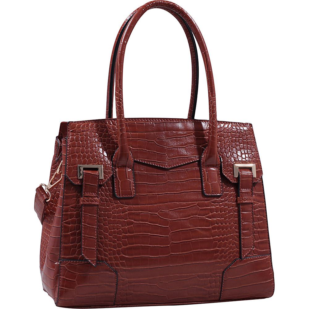 MKF Collection by Mia K. Farrow Buckthorn Crocodile Leather Satchel Brown - MKF Collection by Mia K. Farrow Manmade Handbags - Handbags, Manmade Handbags