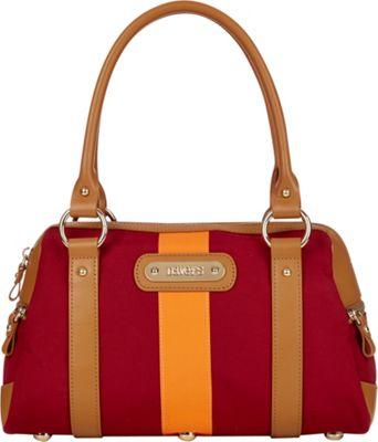Davey's Doctor Bag Stripe Satchel Maroon/Orange Stripe - Davey's Fabric Handbags