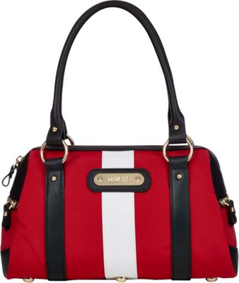 Davey's Doctor Bag Stripe Satchel Red/White Stripe/Black Leather - Davey's Fabric Handbags
