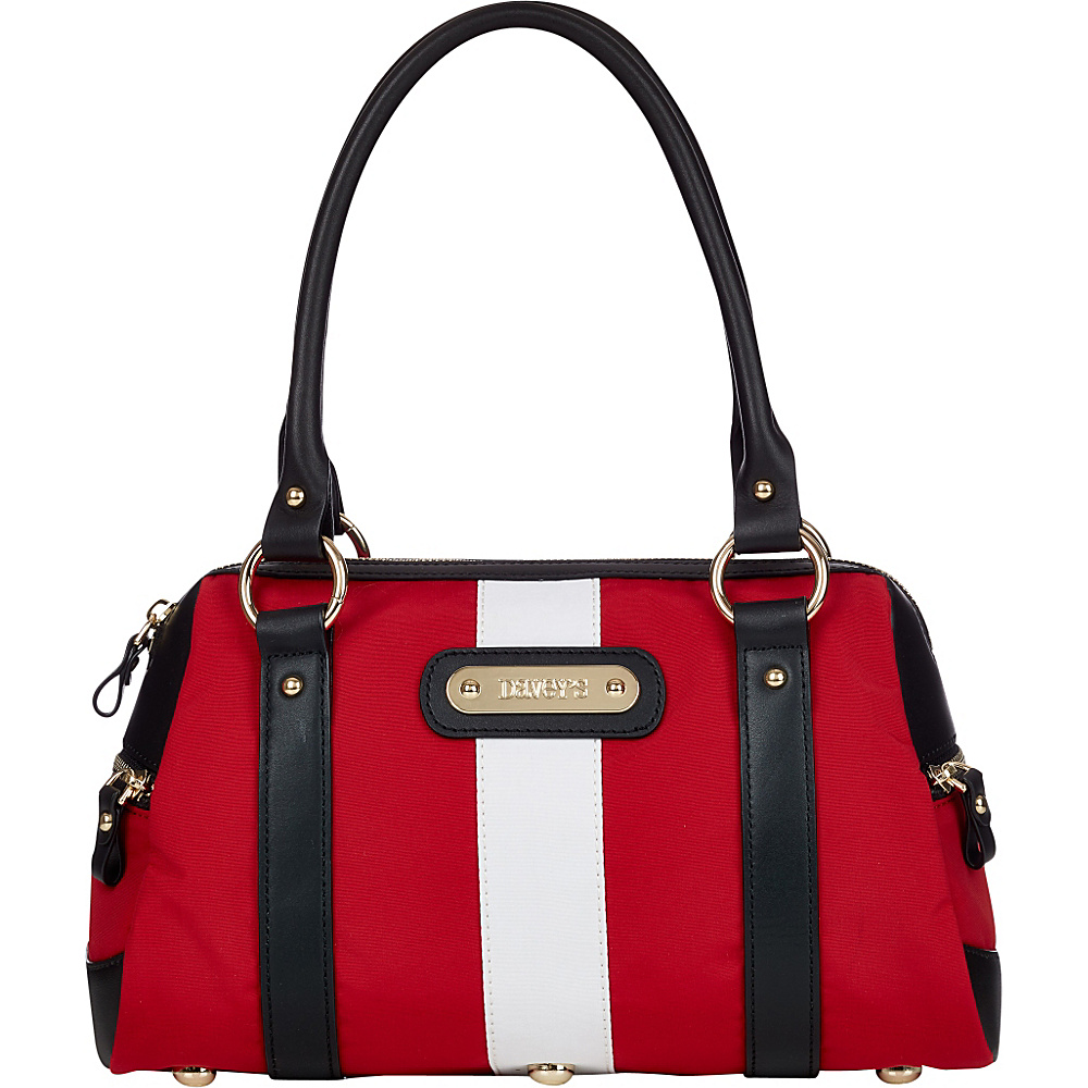 Davey s Doctor Bag Stripe Satchel Red White Stripe Black Leather Davey s Fabric Handbags