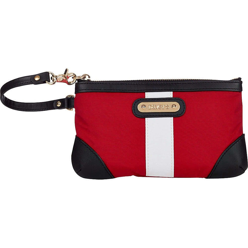 Davey s Medium Stripe Wristlet Red White Stripe Black Leather Davey s Fabric Handbags