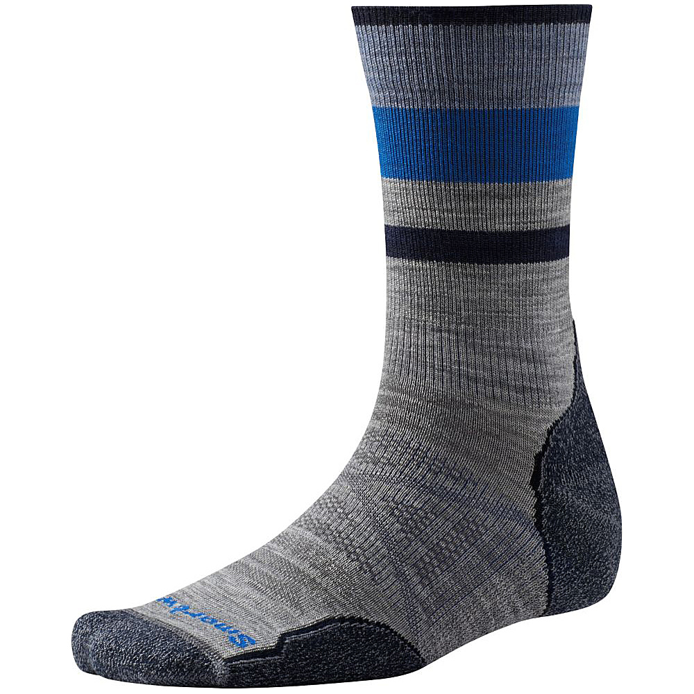 Smartwool PhD Outdoor Light Pattern Crew Light Gray Large Smartwool Men s Legwear Socks