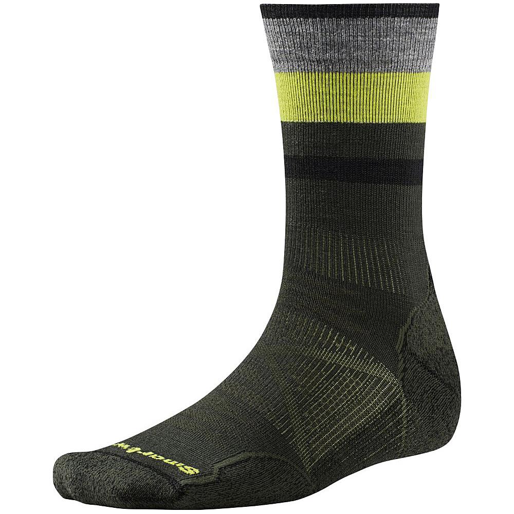 Smartwool PhD Outdoor Light Pattern Crew Forest Large Smartwool Men s Legwear Socks