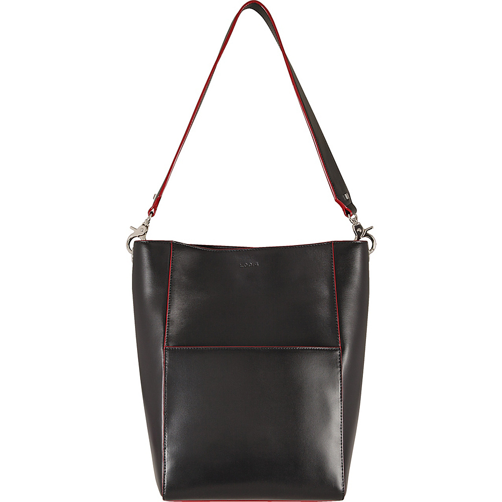 Lodis Audrey Berta Bucket Black/Red - Lodis Leather Handbags - Handbags, Leather Handbags