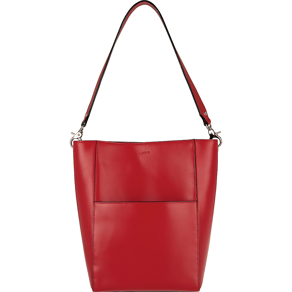 Lodis Audrey Berta Bucket Red/Black - Lodis Leather Handbags - Handbags, Leather Handbags