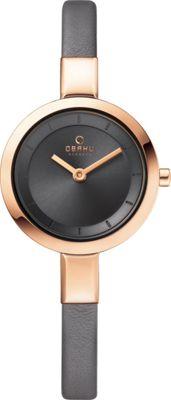 Obaku Watches Womens Leather Watch Grey/Rose Gold - Obaku Watches Watches