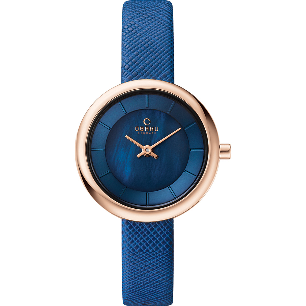Obaku Watches Womens Leather Watch Blue Rose Gold Mother of Pearl Obaku Watches Watches