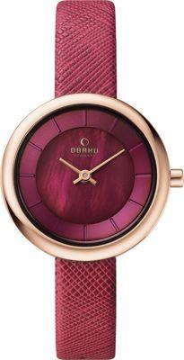 Obaku Watches Womens Leather Watch Purple/Rose Gold/Mother of Pearl - Obaku Watches Watches