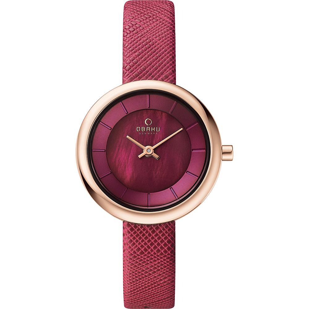Obaku Watches Womens Leather Watch Purple Rose Gold Mother of Pearl Obaku Watches Watches