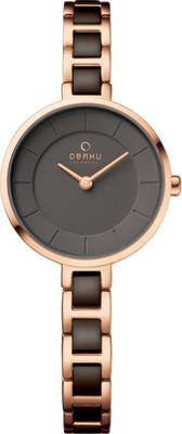 Obaku Watches Womens Stainless Steel Link Watch Rose Gold/Brown - Obaku Watches Watches