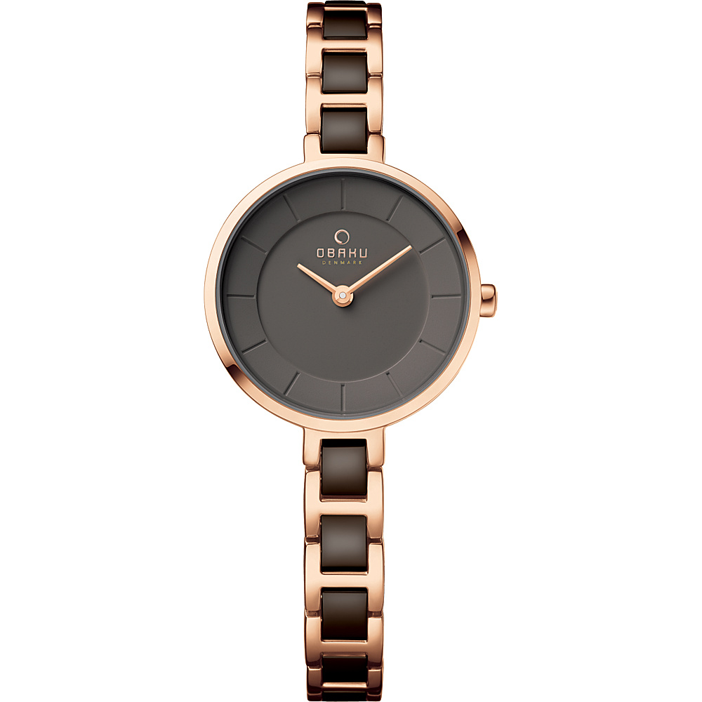 Obaku Watches Womens Stainless Steel Link Watch Rose Gold Brown Obaku Watches Watches