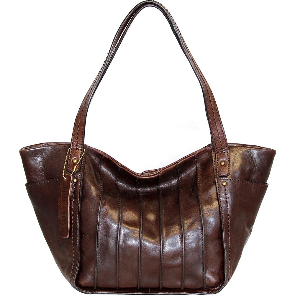 Nino Bossi Begonia Bloom Shoulder Bag Chocolate - Nino Bossi Leather Handbags - Handbags, Leather Handbags