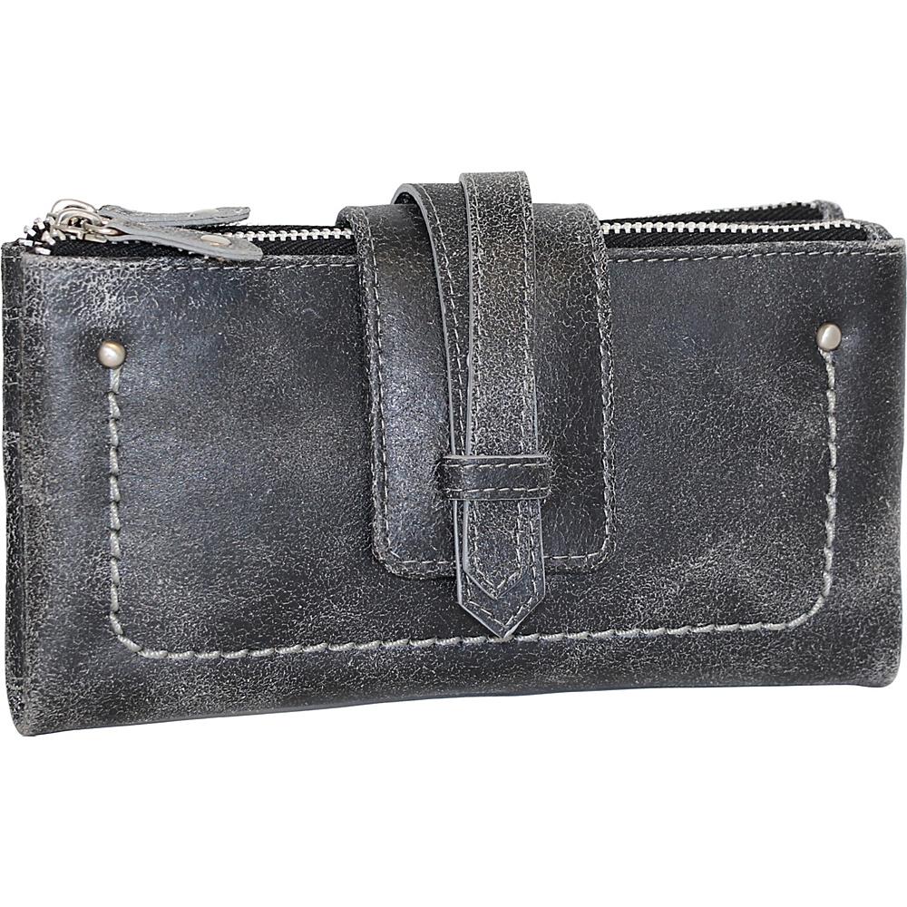 Nino Bossi Crackle Double Zip Wallet Black - Nino Bossi Designer Handbags - Handbags, Designer Handbags